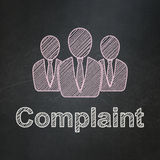 Law concept: Business People and Complaint on. Law concept: Business People icon and text Complaint on Black chalkboard background, 3d render Stock Image