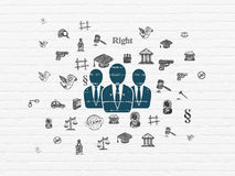 Law concept: Business People on wall background. Law concept: Painted blue Business People icon on White Brick wall background with  Hand Drawn Law Icons, 3d Stock Photography