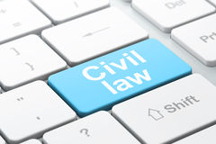 Law concept: Civil Law on computer keyboard. Law concept: computer keyboard with word Civil Law, selected focus on enter button background, 3d render Royalty Free Stock Photo