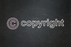 Law concept: Copyright and Copyright on chalkboard background Stock Photos