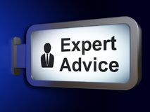 Law concept: Expert Advice and Business Man on billboard background. Law concept: Expert Advice and Business Man on advertising billboard background, 3D Royalty Free Stock Photos