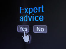 Law concept: Expert Advice on digital computer. Law concept: buttons yes and no with pixelated word Expert Advice and Hand cursor on digital computer screen Royalty Free Stock Images