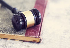 Law concept, gavel, book Stock Photos