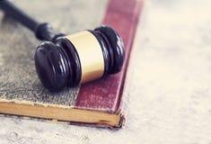 Law concept, gavel, book Stock Photos