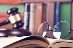 Law concept, gavel, glasses and books. Close up Royalty Free Stock Photography