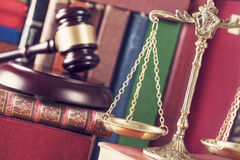 Law concept, gavel, scale and books. Close up Stock Images