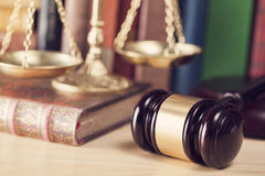 Law concept, gavel, scale and books. Close up Stock Photos
