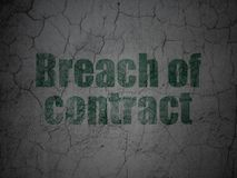 Law concept: Breach Of Contract on grunge wall background. Law concept: Green Breach Of Contract on grunge textured concrete wall background Royalty Free Stock Photography
