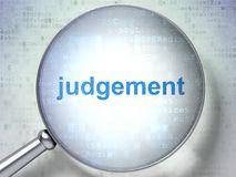 Law concept: Judgement with optical glass. Law concept: magnifying optical glass with words Judgement on digital background, 3D rendering Royalty Free Stock Photos