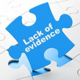 Law concept: Lack Of Evidence on puzzle background. Law concept: Lack Of Evidence on Blue puzzle pieces background, 3D rendering Stock Image