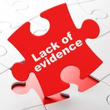 Law concept: Lack Of Evidence on puzzle background. Law concept: Lack Of Evidence on Red puzzle pieces background, 3D rendering Stock Photo