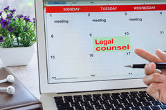 Legal Counsel appointments. Law concept - Legal Counsel appointments found on the schedule screen laptop royalty free stock photos