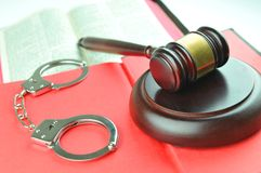 Law concept. Legal concept with gavel, Bible and handcuffs Royalty Free Stock Photography