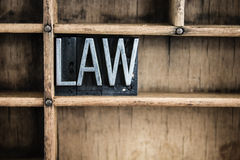 Law Concept Metal Letterpress Word in Drawer Stock Photos