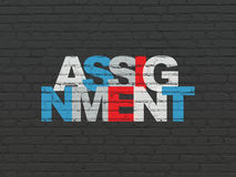 Law concept: Assignment on wall background. Law concept: Painted multicolor text Assignment on Black Brick wall background Royalty Free Stock Images