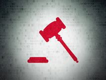 Law concept: Gavel on Digital Data Paper background. Law concept: Painted red Gavel icon on Digital Data Paper background Stock Photos