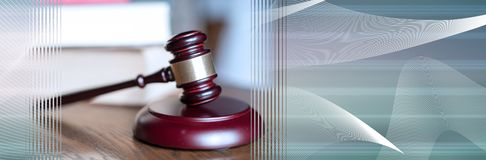 Law concept. panoramic banner. Judge gavel with law books. panoramic banner royalty free stock images