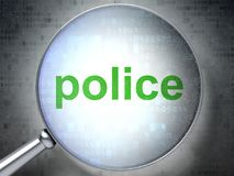 Law concept: Police with optical glass. Law concept: magnifying optical glass with words Police on digital background, 3D rendering Royalty Free Stock Photo