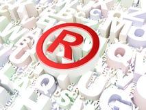 Law concept: Registered on alphabet background. 3d render Stock Images