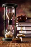 Law concept, scales and time Stock Image