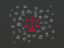 Law concept: Scales on wall background Royalty Free Stock Image