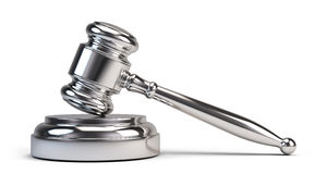 Law concept - Silver judge gavel Stock Photos