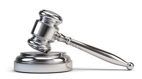 Law concept - Silver judge gavel Stock Photos