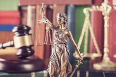 Law concept, statue, gavel, scale and books. Close up Royalty Free Stock Photo