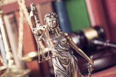 Law concept, statue, gavel, scale and books. Close up Stock Photography