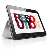 Law concept: Tablet Computer with Resolution on display. Law concept: Tablet Computer with Painted multicolor text Resolution on display, 3D rendering stock illustration