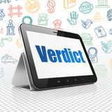 Law concept: Tablet Computer with Verdict on display Royalty Free Stock Photos