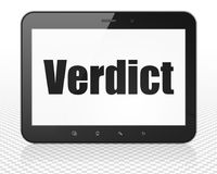 Law concept: Tablet Pc Computer with Verdict on display Royalty Free Stock Photography