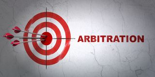 Law concept: target and Arbitration on wall background. Success law concept: arrows hitting the center of target, Red Arbitration on wall background, 3D Stock Image