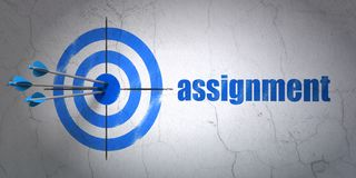 Law concept: target and Assignment on wall background. Success law concept: arrows hitting the center of target, Blue Assignment on wall background, 3D rendering Royalty Free Stock Photo