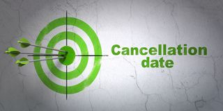 Law concept: target and Cancellation Date on wall background. Success law concept: arrows hitting the center of target, Green Cancellation Date on wall Stock Images