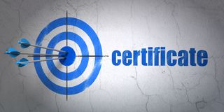 Law concept: target and Certificate on wall background. Success law concept: arrows hitting the center of target, Blue Certificate on wall background, 3D Royalty Free Stock Photography