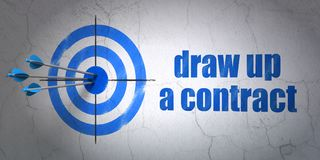 Law concept: target and Draw up A contract on wall background. Success law concept: arrows hitting the center of target, Blue Draw up A contract on wall Royalty Free Stock Photo