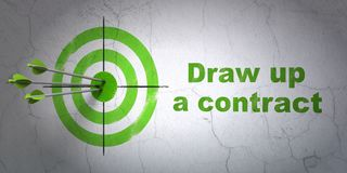 Law concept: target and Draw up A contract on wall background. Success law concept: arrows hitting the center of target, Green Draw up A contract on wall Stock Photo
