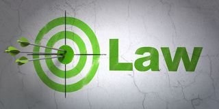 Law concept: target and Law on wall background. Success law concept: arrows hitting the center of target, Green Law on wall background, 3D rendering Stock Photography