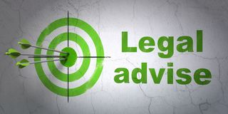 Law concept: target and Legal Advise on wall background. Success law concept: arrows hitting the center of target, Green Legal Advise on wall background, 3D Stock Image