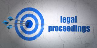 Law concept: target and Legal Proceedings on wall background. Success law concept: arrows hitting the center of target, Blue Legal Proceedings on wall background Royalty Free Stock Image