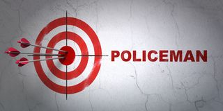 Law concept: target and Policeman on wall background. Success law concept: arrows hitting the center of target, Red Policeman on wall background, 3D rendering Stock Photos