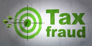 Law concept: target and Tax Fraud on wall background. Success law concept: arrows hitting the center of target, Green Tax Fraud on wall background, 3D rendering Stock Photos
