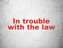 Law concept: In trouble With The law on wall background Stock Image