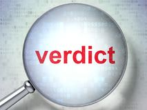 Law concept: Verdict with optical glass Royalty Free Stock Images