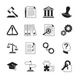 Law consulting, legal compliance vector icons. Policy and regulations pictograms illustration Stock Photo