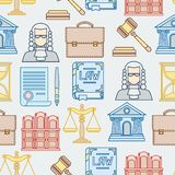 Law contour icons seamless pattern in flat design Stock Image