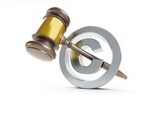 Law copyright sign 3d Illustrations Stock Photography