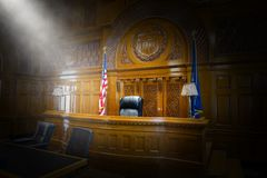 Law, Court, Courtroom, Judge, Chair, Bench royalty free stock photography