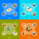 Law Court 3d Banner Set Isometric View. Vector vector illustration